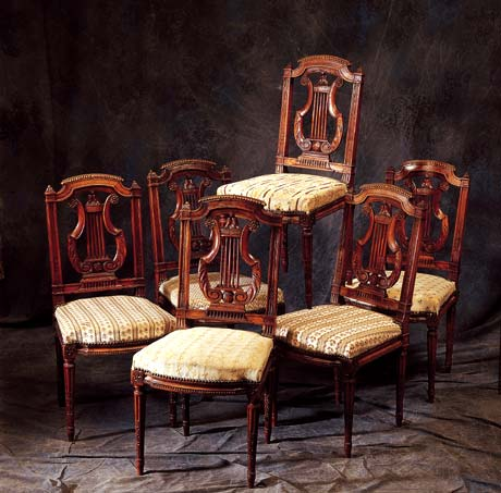 meubles anciens serie de 6 chaises noyer bertrand klein antiquit s. Black Bedroom Furniture Sets. Home Design Ideas