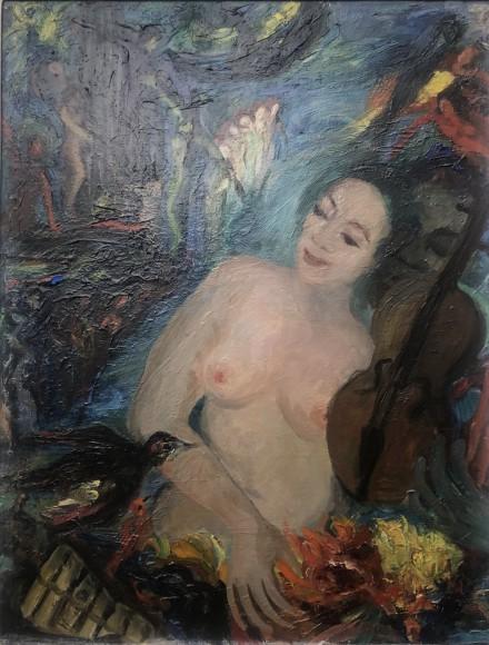 Violoniste Fleurs et oiseau