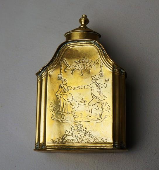 Engraved brass bottle