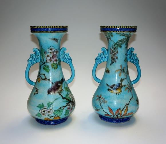 Theodore Deck Pair of blue vases