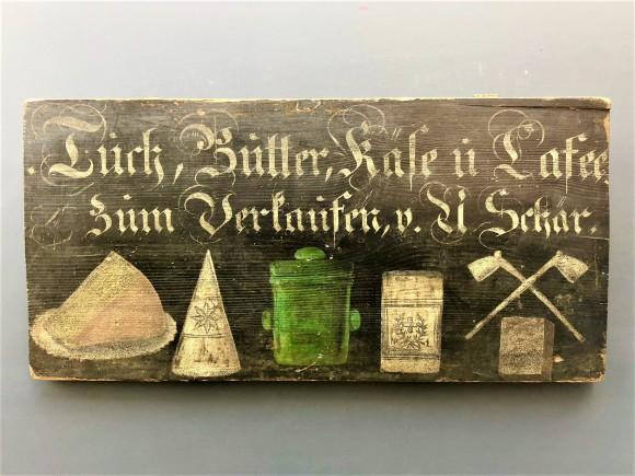 Rare polychrome grocer sign Alsace XIXth century
