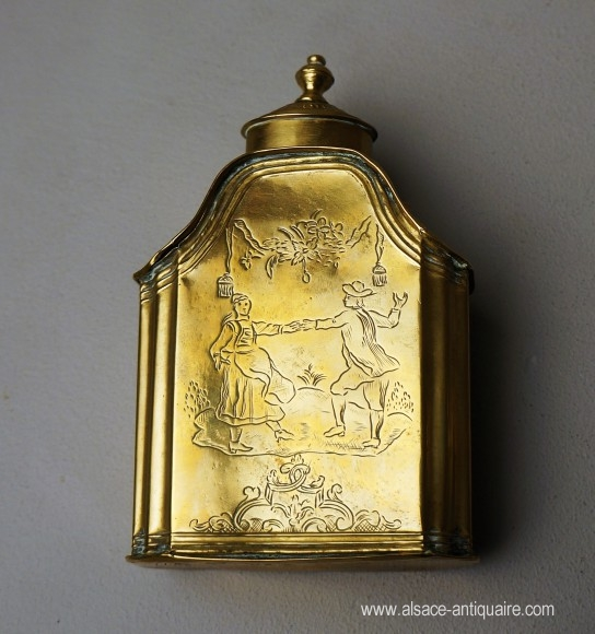 Engraved brass bottle